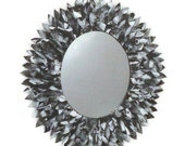 Black and white Leather Oval Mirror
