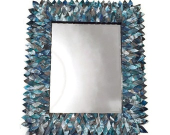 Teal and turquoise Leather mirror, Bathroom Mirror, Vanity Mirror, Decorative Mirror, Blue Mirror, Unique Mirror, Hanging Modern Mirror