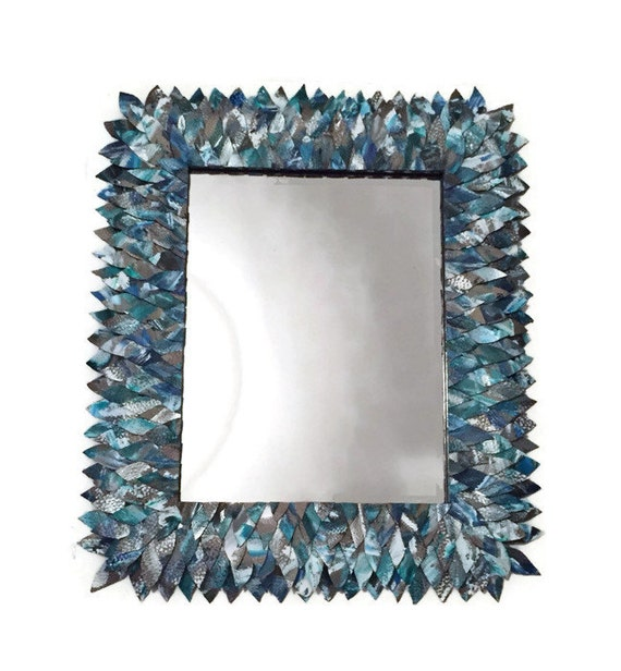 Teal and turquoise leather mirror bathroom mirror vanity for Teal framed mirror