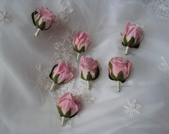 Wedding Silk Light Pink Blush Rose Boutonniere