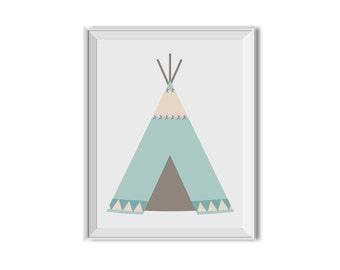 Teepee, Tribal Art, Tee pee, Tribal, Tribal Decor, Nursery Art, Children's Room Art, Mint, Teal, Tribal