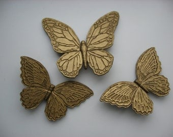 SALE Set of 3 Vintage 1971 HOMCO Butterfly Wall Plaques
