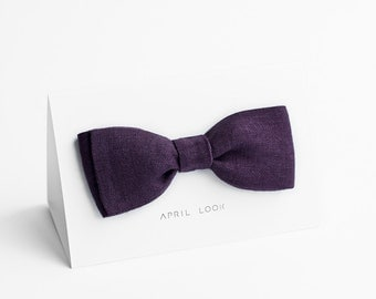 Eggplant bow tie, men's bow ties - double sided