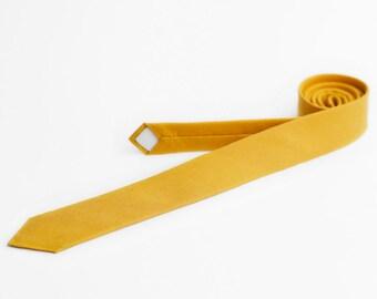Mustard yellow tie, skinny necktie