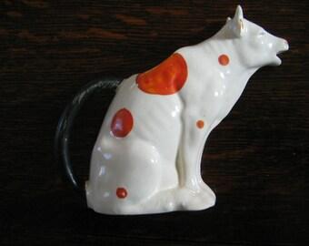ANTIQUE CZECHOSLOVAKIAN COW Creamer,  European Porcelain Cow Pitcher, Milk Pitcher