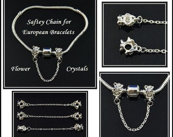 CRYSTaL FLoWER - SAFeTY CHAiN - Silver Tone (Darker Shade) - Silver Plated - Threaded Charm Beads - fits European Bracelets - MSC