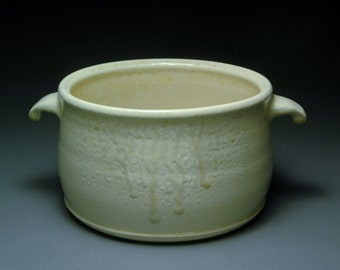 Creamy Off White Wood and Salt Fired Two Quart Deep Casserole Dish with Ash Drips, Interior Ash Collection, and Cute Handles