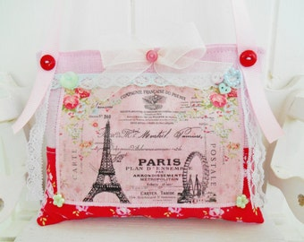 Cottage Chic Paris Themed lavender Sachet/Home decor