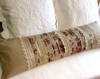 PIECED bolster beiges and creams designer fabrics cream fringe
