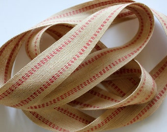 "1 1/2"" Burlap Ribbon - Red Side Stitched - 2 Yards - Burlap Trim - Burlap Bows"