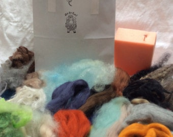 Needlefelt kit. Includes washed British fleece, 10 shades of Merino tops,sponge,wool curls, 2 needles and instructions. Landscape Colorway