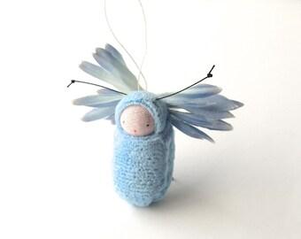 Flower fairy ornament pale blue miniature  doll fairie