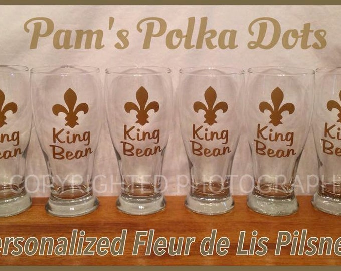 Personalized FLEUR DE LIS Pilsner Glasses for Mardi Gras Fat Tuesday Wedding Bachelor Party Beer New Orleans