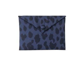 iPad mini case padded, iPad mini cover, iPad mini sleeve - leopard blue fabric