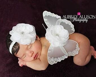 White Newborn Butterfly Wings, Rhinestone Flower Headband, Girls Photo Prop, Glitter Elastic, All White