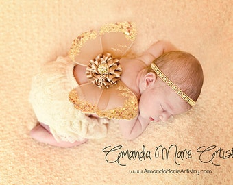 Butterfly Wings Newborn Photo Prop Beige Gold Halo Headband Included Ready To Ship