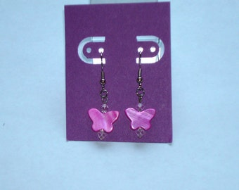"""1"""" L  x  1/4"""" W   Pink Shell Butterfly w/ Matching Crystal Earrings"""