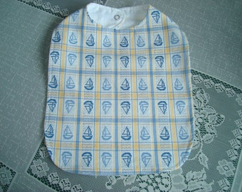 Handmade Cotton Baby Bib Fits Newborn to 3 Mo