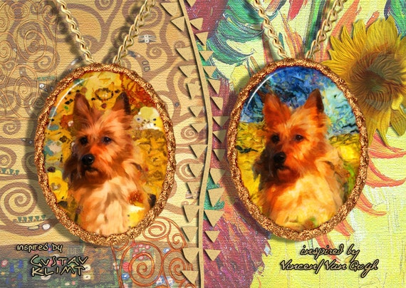 Australian Terrier Jewelry Pendant - Brooch Handcrafted Porcelain by Nobility Dogs - Gustav Klimt and Van Gogh
