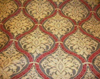 "56"" wide Ruby Damask Roman  Upholstery and Drapery fabric per yard"