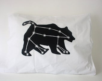 Pillowcase, Ursa Major constellation print in black on white standard pillowcase, screen print, bear