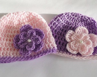 Crochet Baby Girl Hat , Twin Girls Hats with Flower and Pearl, Baby Girl Set, Pink and Purple Hat, Baby Shower Gift