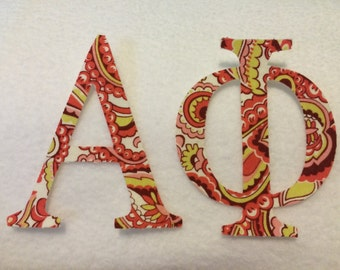 Alpha Phi Sorority Appliqué Letters  Custom Iron On Applique Letters Iron On Cursive or Block Lettering- Any Letter or Number Customize with