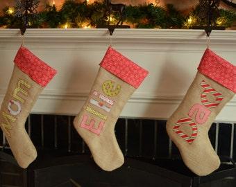 Personalized BURLAP CHRISTMAS STOCKING ... Personalized Christmas Stocking ... Personalized Holiday Stocking ... Customized Stocking