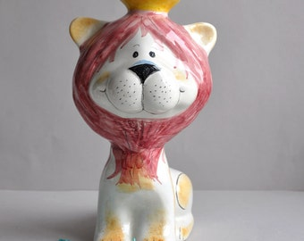 SALE! Large Lion King Ceramic Bank - Quadrifoglio Italy