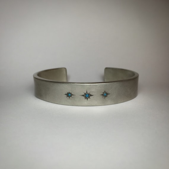 Starry Sky Turquoise and Sterling Silver Cuff