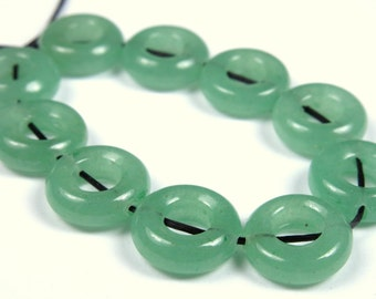 SALE - originally 6.99 - Lovely Green Aventurine Small Donut Bead - 11mm x 4mm - 10 Pieces - B2387