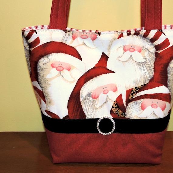 "Christmas Purse ""Hip Santa~ HoHoHo"" Santa Purse, Holiday Purse"