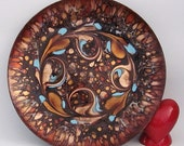 Mid Century Vintage Enamel on Copper Plate Dish by Artist Gee Vee - Signed - Wall Hanging Trinket Dish Collectible