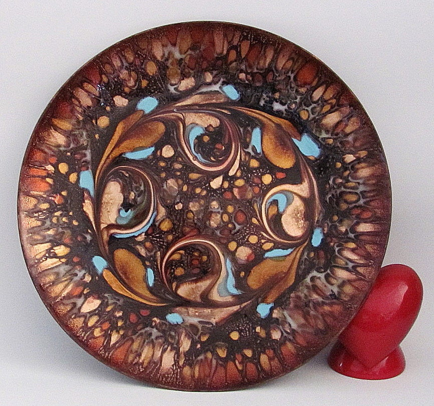 Mid Century Vintage Enamel On Copper Plate Dish By Artist Gee