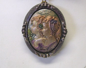 Hand Painted Sisters Cameo Necklace, Mother Daughter Cameo Necklace, OOAK Cameo Necklace, Hand Painted Cameo, Victorian Style Cameo