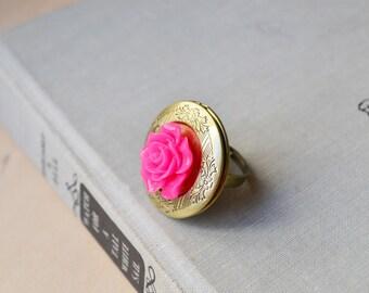 Fuchsia Rose Bronze Locket Ring