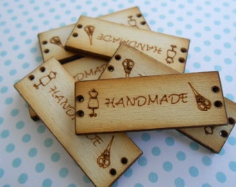 "Wood Tags ""Handmade"" Label 7 pcs"