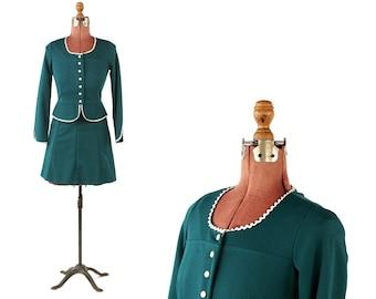 Vintage 1960's Dark Forest Green Mini Baby Doll Peppy Peplum Two Piece Dress Set S