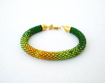 Green bead rope bracelet, bead crochet bracelet, ombre bracelet, rope bracelet, green yellow bracelet, handmade bracelet, beadwork bracelet