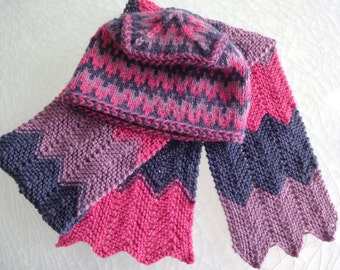 Set:  Colorfull  Handknitted Hat and  Scarf,  navy blue, heather, fuchsia colors, fair isle esigne. For Women.