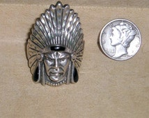 Vintage Sterling Silver Ring Indian Chief With War Bonnet Black Enamel Accents 1970's Size 11 Signed OTT Jewelry 3041