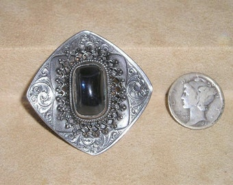 Antique Victorian Brooch Unsigned Sterling Filigree With Blue Glass Stone 1890's Pin Vintage Jewelry 1032