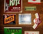 8 Vintage Soda Labels NOS 1930s-1960s