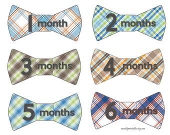 Bowtie Baby Monthly Sticker, Plaid Monthly Age Sticker, Baby Shower Gift, Bow Tie 1st Year Sticker Nursery Decor, Boy Photo Prop 229