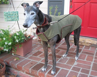 Greyhound Dog Coat & XL Jacket, Pine Green and Olive Flannel Herringbone with Cranberry Red Fleece Lining