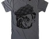Pug in a Newsboy Cap T Shirt - American Apparel Tshirt - S M L Xl 2Xl (15 Color Options)