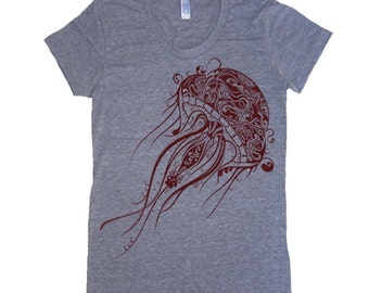 Womens Jellyfish T Shirt - American Apparel TShirt tee  - S M L Xl (20 Color Options)