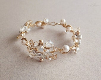 Gold and White Opal Crystal Bridal Bracelet   -  Sparkling White and Gold Wedding Crystal Cuff Bracelet - Celebration Jewelry White and Gold