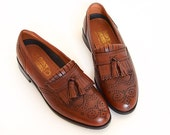 "Vintage Mens ""Milton"" 8.5 Kiltie Tassel Wingtip loafers by French Shriner"