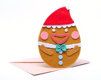 Christmas handmade card,Ginger man,Christmas deco,Xmas gift,felt card